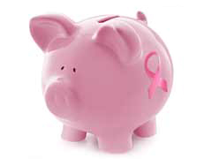 piggy bank with pink ribbon
